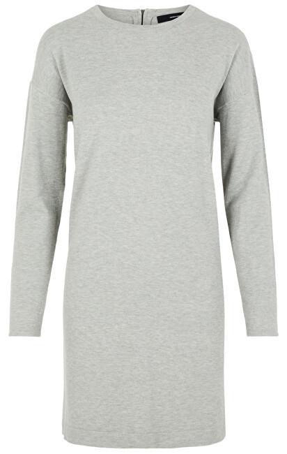 Fotografie Vero Moda Dámské šaty VMHAPPY BASIC LS ZIPPER DRESS COLOR Light Grey Melange XS