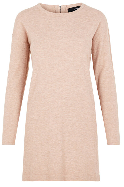 Fotografie Vero Moda Dámské šaty VMHAPPY BASIC LS ZIPPER DRESS COLOR Misty Rose XL