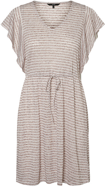 Vero Moda Dámské šaty VMRAKEL 10230826 Birch Stripes:BROWNIE STRIPES XL