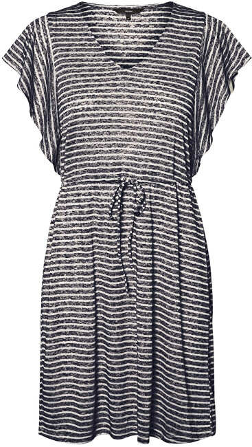 Vero Moda Dámské šaty VMRAKEL 10230826 Birch Stripes:NIGHT SKY XL