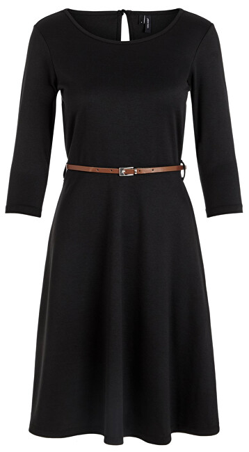 Fotografie Vero Moda Dámské šaty VMVIGGA FLAIR 3/4 SLEEVE DRESS Black XS