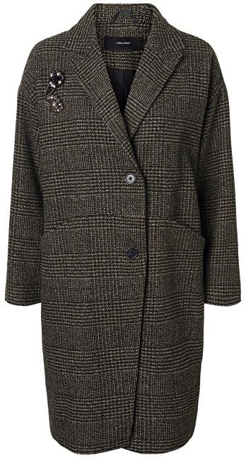 Vero Moda Palton pentru femei North 3/4 Jacket Peat Black Check W.Two Trims M