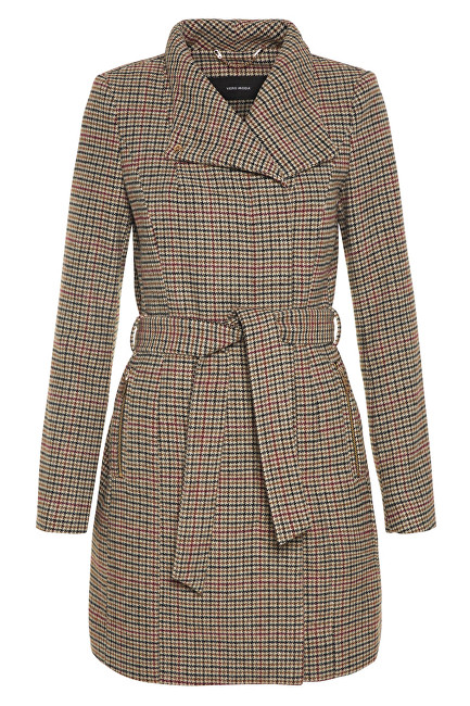 Vero Moda Dámsky kabát Two Dope Check 3-4 Wool Jacket Tobacco Brown Black With Winetasting S