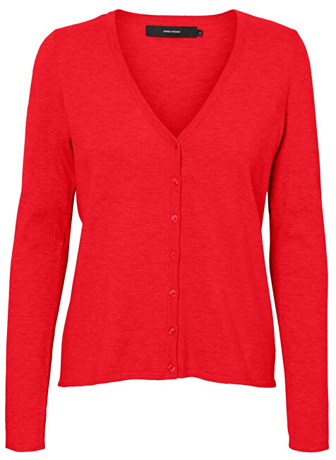 Vero Moda Dámsky sveter VMHAPPY BASIC LS V-NECK CARDIGAN COLOR Chinese Red XS