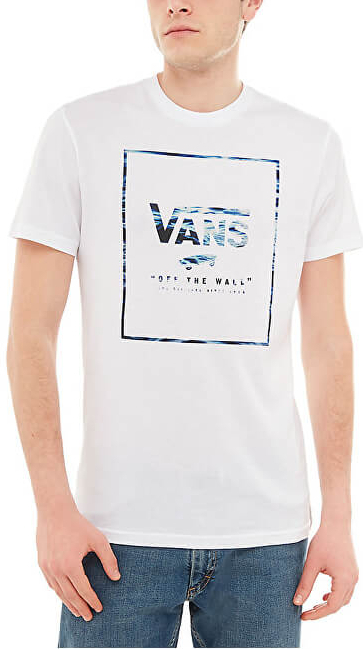 VANS Pánske tričko Print Box T-Shirt White-Wave Fill VA312SQGB XL