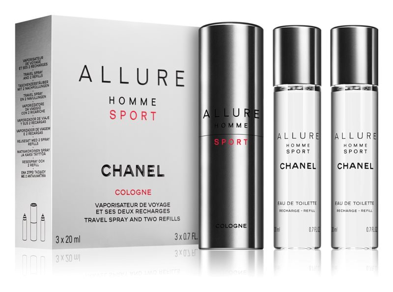 Chanel Allure Homme Sport Cologne - EDC 20 ml (plnitelný flakon) + náplň 2 x 20 ml