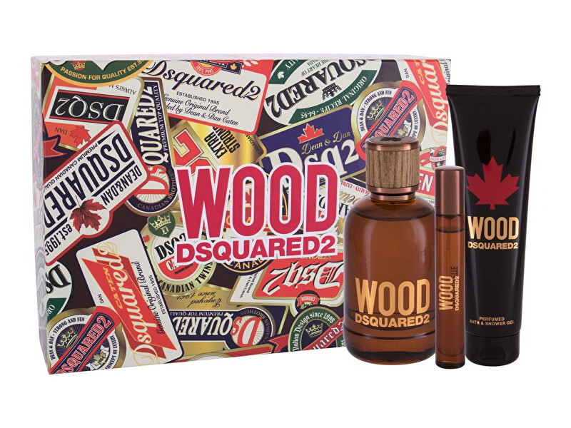 Dsquared² Wood For Him  EDT 100 ml  sprchový gel 150 ml  EDT 10 ml