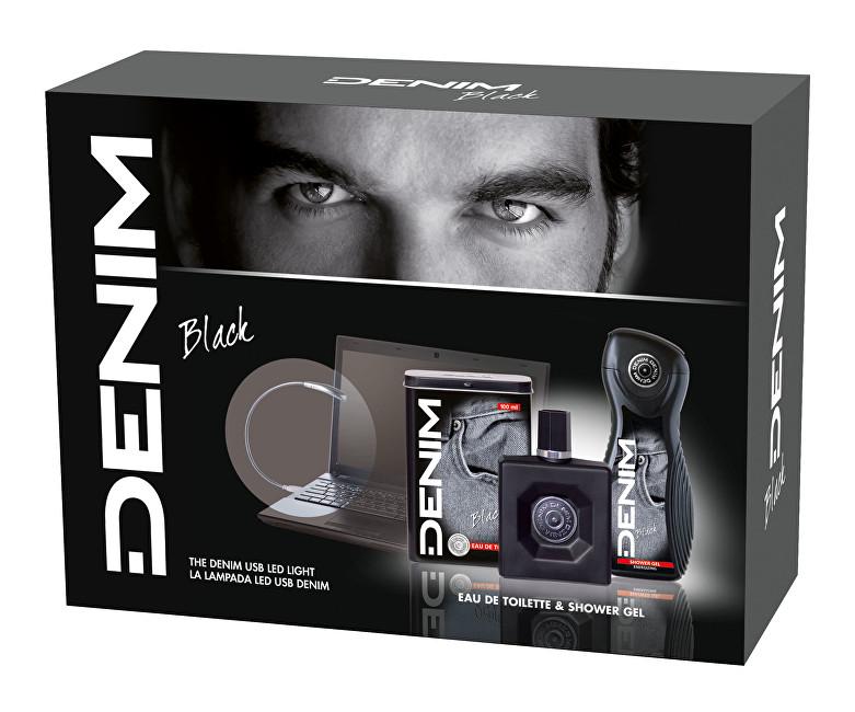 Denim Black - EDT 100 ml + sprchový gel 250 ml + světlo k počítači