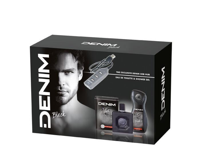Denim Black - EDT 100 ml + sprchový gel 250 ml + USB rozbočovač