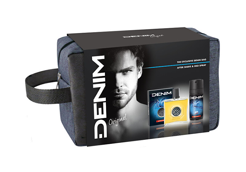 Denim Original - voda po holení 100 ml + deodorant ve spreji 150 ml + taštička