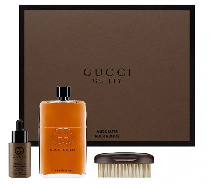 Gucci Guilty Absolute - EDP 90 ml + olej na vousy 30 ml + kartáč na vousy