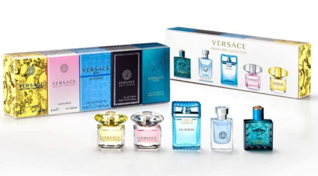 Versace Kolekce miniatur dámske Bright Crystal EDT 5 ml   Yellow Diamond EDT 5 ml a pánske Eau Fraiche Man EDT 5 ml   Pour Homme EDT 5 ml   Eros EDT 5 ml darčeková sada