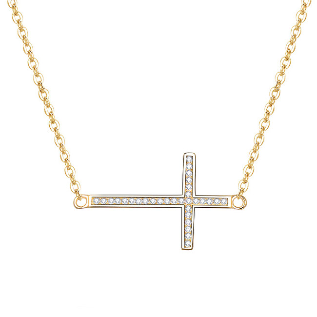 Beneto Pozlátený strieborný náhrdelník s krížikom AGS196 / 47-GOLD