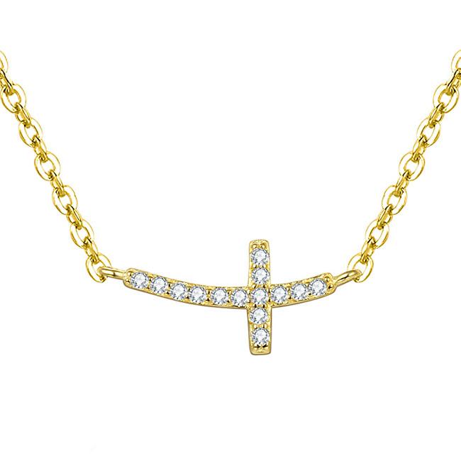Beneto Pozlátený strieborný náhrdelník s krížikom AGS546 / 47-GOLD