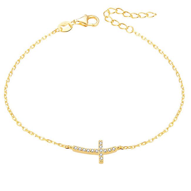 Beneto Pozlacený stříbrný náramek s křížkem AGB484/20-GOLD