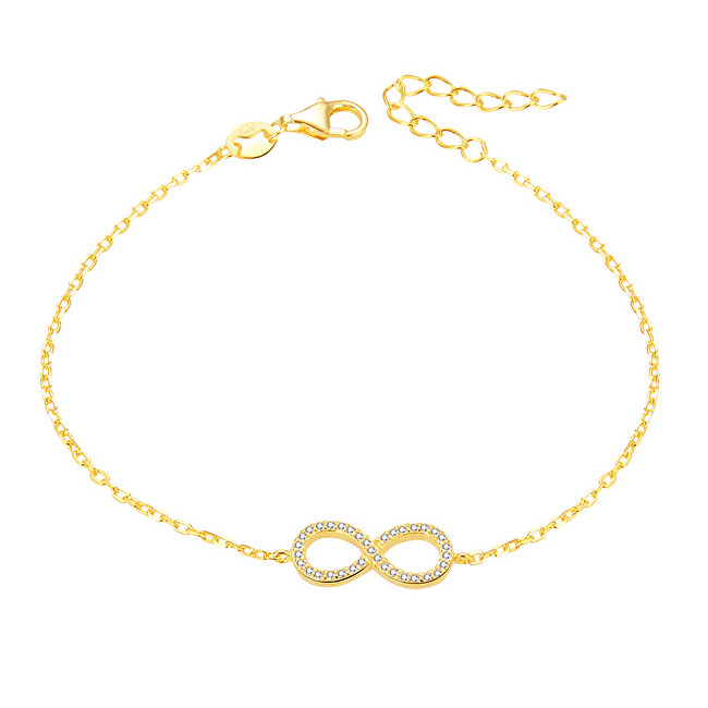 Beneto Pozlacený stříbrný náramek s krystaly AGB483/20-GOLD