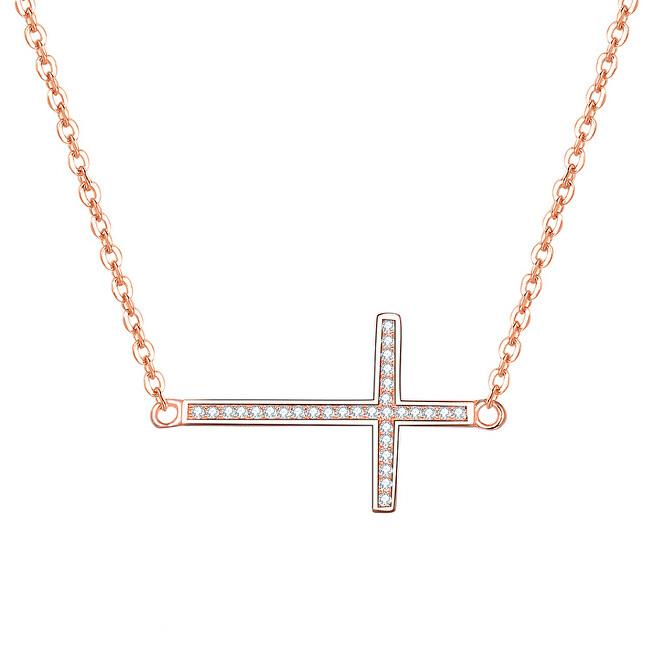 Beneto Ružovo pozlátený strieborný náhrdelník s krížikom AGS196 / 47-ROSE