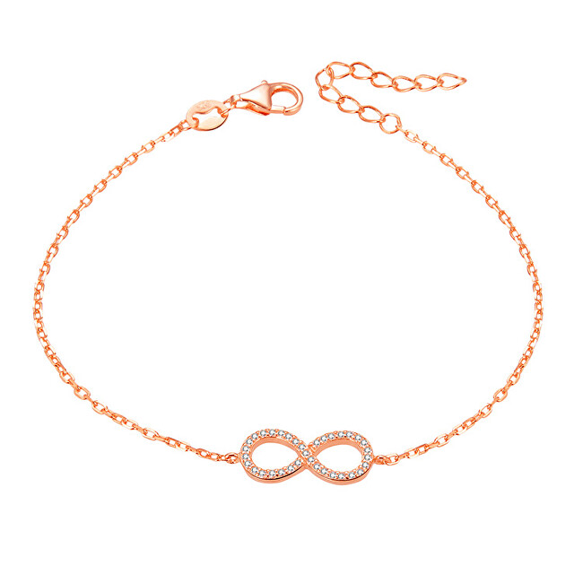Beneto Růžově pozlacený stříbrný náramek s krystaly AGB483/20-ROSE