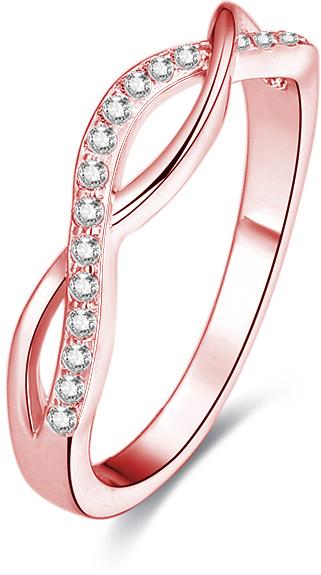 Beneto Růžově pozlacený stříbrný prsten s krystaly AGG191 56 mm