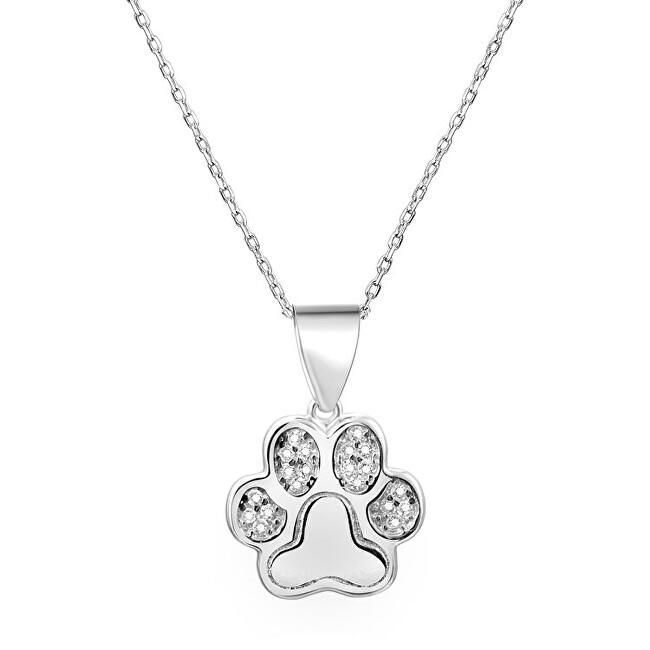 Beneto Strieborný náhrdelník s labkou AGS527 / 47 (retiazka, prívesok)