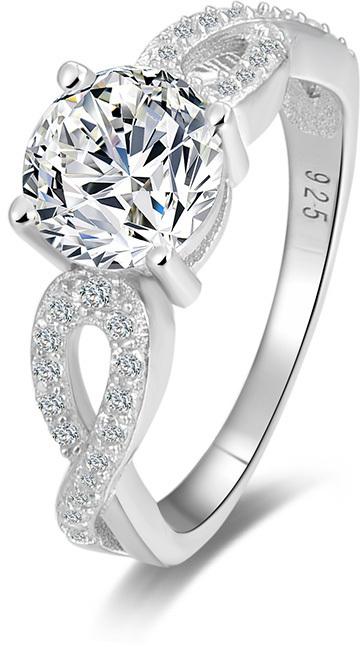 Beneto Stříbrný prsten s třpytivými krystaly AGG204 50 mm