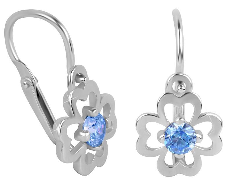 Brilio Dětské náušnice s modrým krystalem Čtyřlístek 231 001 00981 07 - 1,15 g