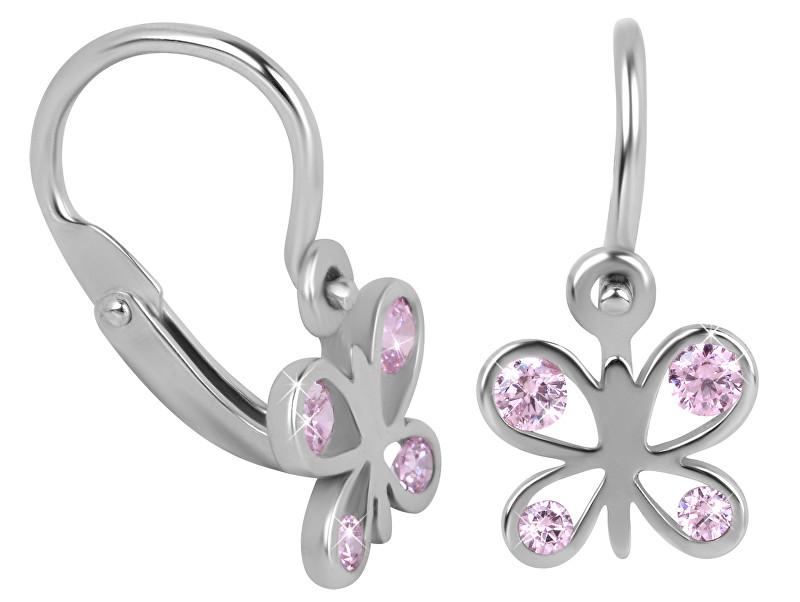 Brilio Detské zlaté náušnice motýle s ružovými kryštálmi 239 001 00293 07 - 0,80 g