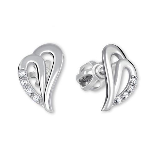 Brilio Náušnice srdce z bieleho zlata 239 001 00738 07 - 1,35 g