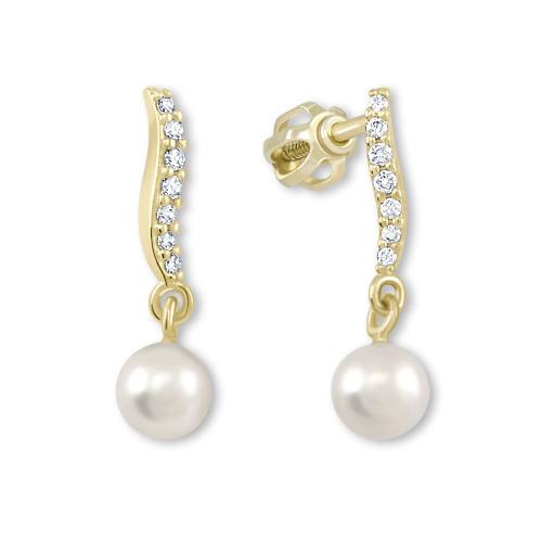 Brilio Náušnice ze žlutého zlata s krystaly a perlou 235 001 00404