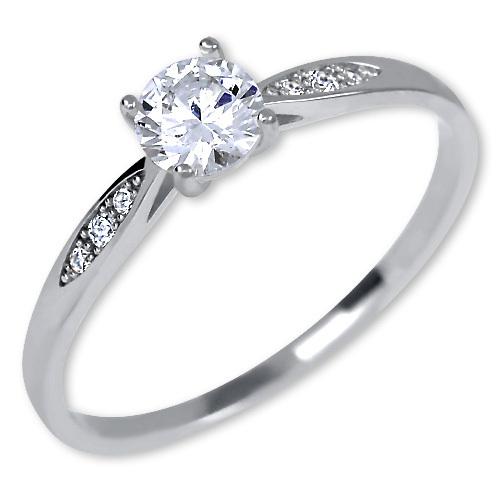 Brilio Něžný dámský prsten z bílého zlata 229 001 00809 07 55 mm