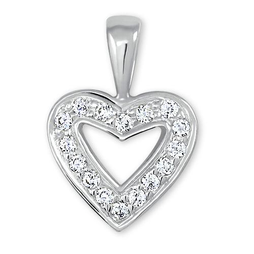 Brilio Přívěsek z bílého zlata Srdce s krystaly 249 001 00106 07 - 0,70 g