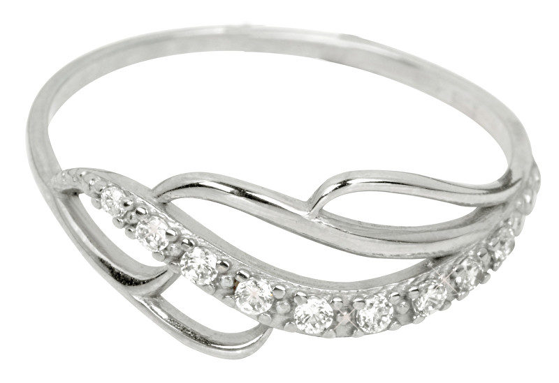 Brilio Prsten z bílého zlata s krystaly 229 001 00624 07 - 1,30 g 57 mm
