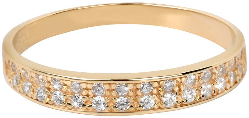 48a6f7224 Brilio Prsteň zo žltého zlata s kryštálmi 229 001 00670 55 mm