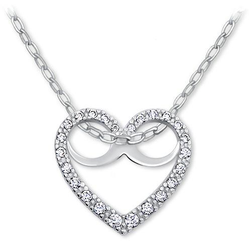 Brilio Romantický náhrdelník Srdce s krystaly 279 001 00089 07 - 2,50 g (řetízek, přívěsek)
