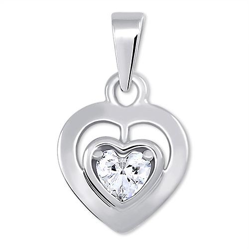 Brilio Romantický přívěsek z bílého zlata Srdce 246 001 00471 07 - 0,90 g