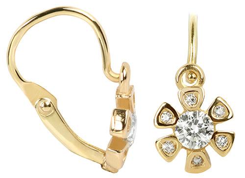 Brilio Zlaté dětské náušnice s čirými krystaly 239 001 00817 - 1,05 g