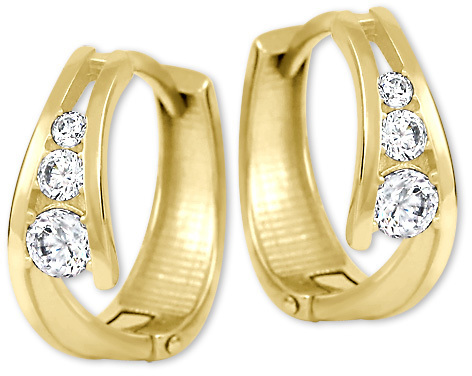 a9081b9ea Brilio Zlaté náušnice krúžky s kryštálmi 239 001 00800 - 1,55 g