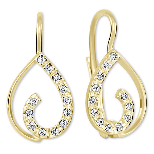 Brilio Zlaté náušnice s krystaly 239 001 00610 - 1,55 g