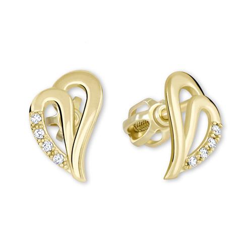 Brilio Zlaté náušnice srdce s kryštálmi 239 001 00738 - 1 e69be7ffb15