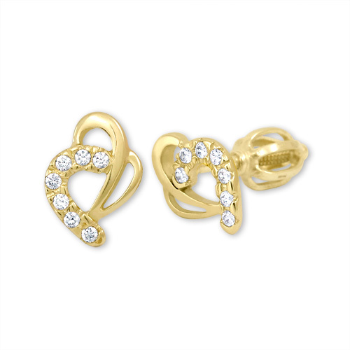 Brilio Zlaté náušnice srdce s krystaly 239 001 00583 - 1,35 g
