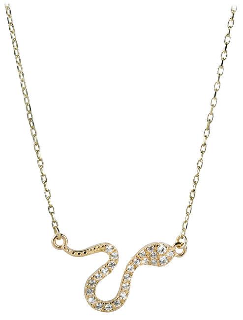 Brilio Zlatý náhrdelník Had s krystaly 279 001 00080 - 2,40 g