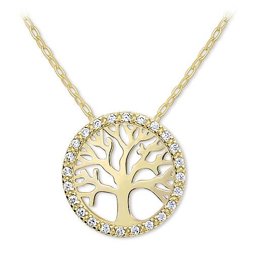 Brilio Zlatý náhrdelník Strom života s krystaly 279 001 00090 - 2,45 g