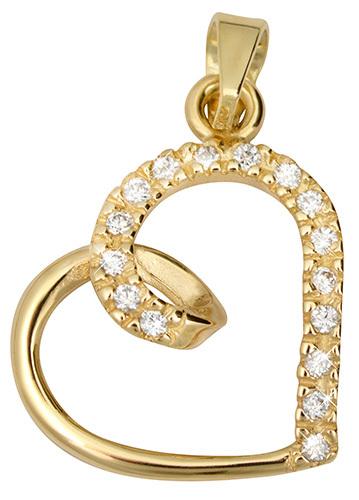 Brilio Zlatý prívesok s kryštálmi Srdce 249 001 00451