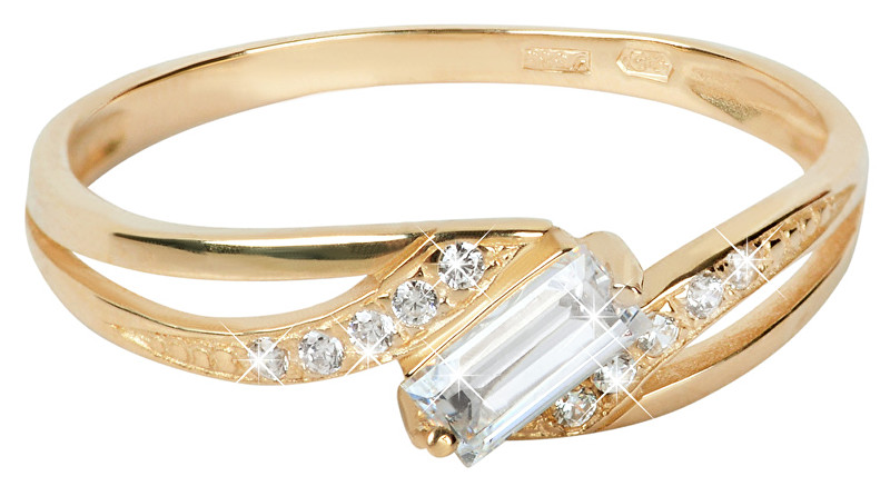 Brilio Zlatý prsten s čirými krystaly 229 001 00544 56 mm