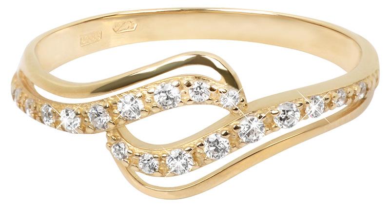 Brilio Zlatý prsten s čirými krystaly 229 001 00638 54 mm