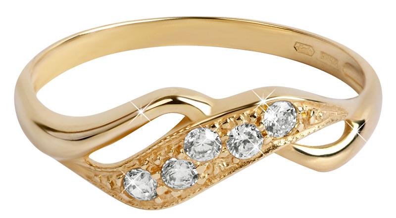 Brilio Zlatý prsten s krystaly 229 001 00125 57 mm