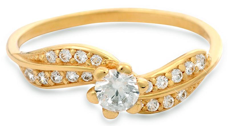 Brilio Zlatý prsten s krystaly 229 001 00509 - 1,45 g 55 mm