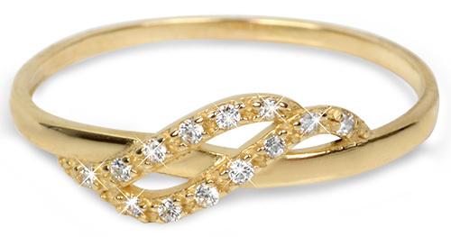 Brilio Zlatý prsten s krystaly 229 001 00698 - 1,10 g 56 mm