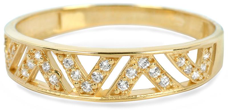 Brilio Zlatý prsten s krystaly 229 001 00722 - 1,30 g 55 mm