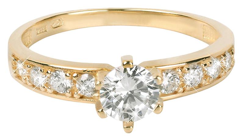 Brilio Zlatý prsten s krystaly 229 001 00761 55 mm